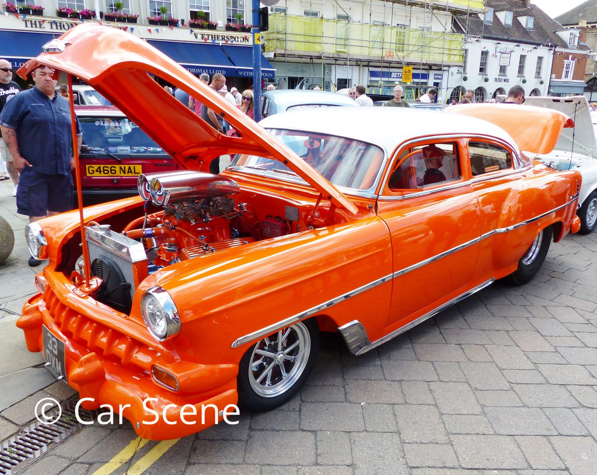 Heavily customised 1950s Chevrolet Coupe front side view