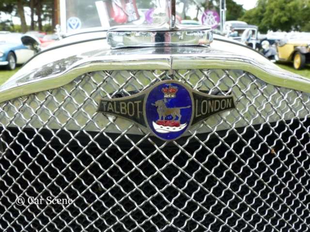 c1935 Talbot Sport 90 grille badge photographed at Chateau Impney July 2017
