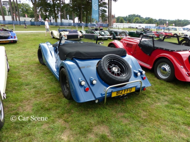 Morgan Plus Four AR rear view photographed at Chateau Impney July 2017