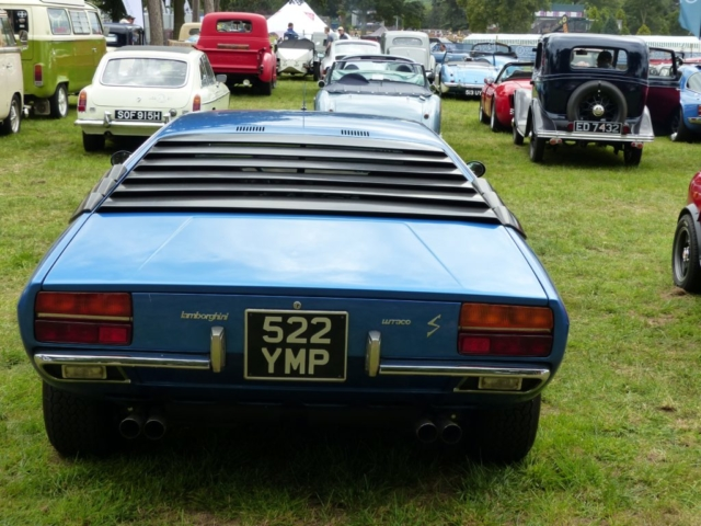 Lamborghini Urraco rear view photographed at Chateau Impney July 2017