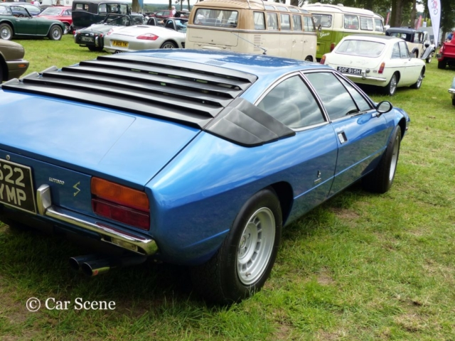 Lamborghini Urraco rear three quarters view photographed at Chateau Impney July 2017
