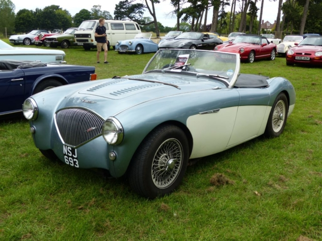 1954 Austin Healey 100M front view photographed at Chateau Impney July 2017