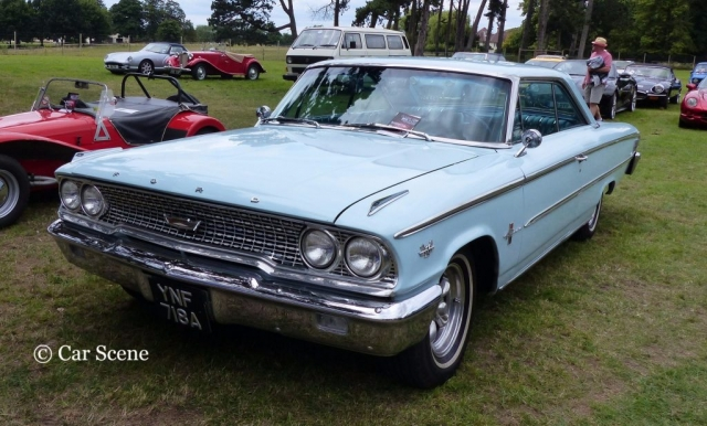 1963 Ford Galaxie Coupe front view photographed at Chateau Impney July 2017