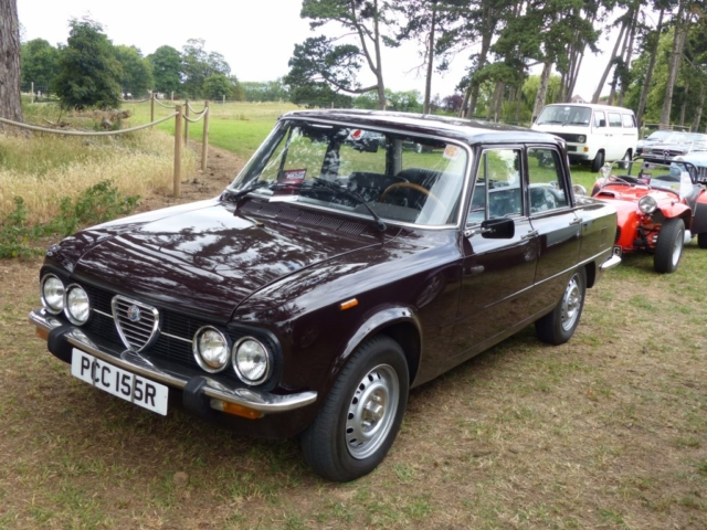 1977 Alfa Romeo Guilia Nuova Super 1300 front view photographed at Chateau Impney July 2017