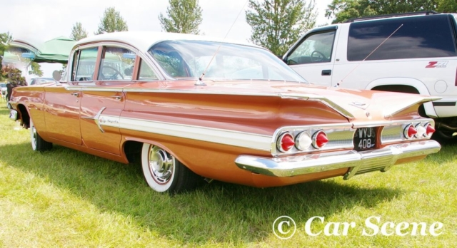 1960 Chevrolet Impala 4 door rear three quarters view