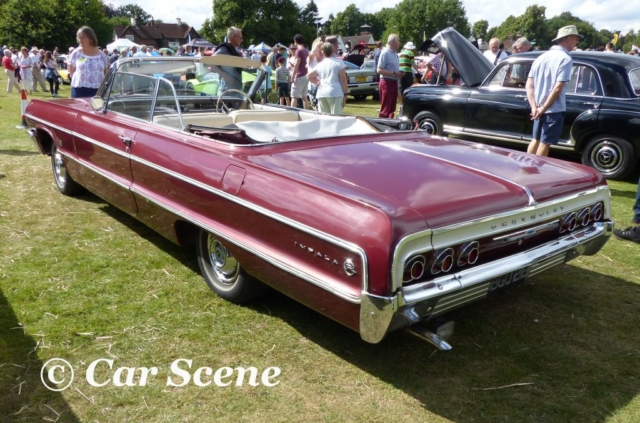 1964 Chevy Impala covertible rear three quarters view