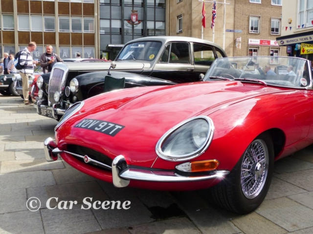 Covenry's best - An E type Jaguar and a Daimler Conquest front view