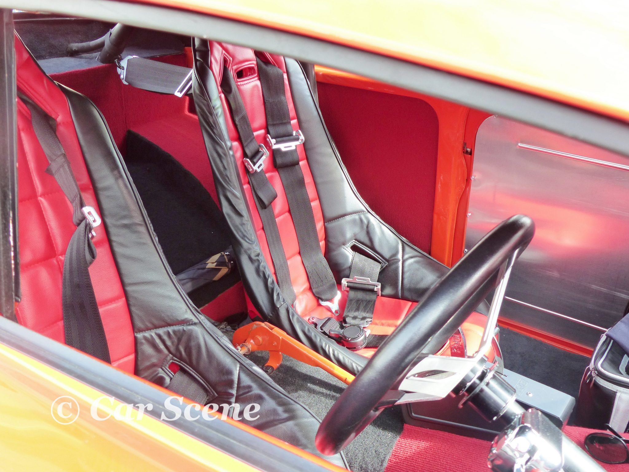 Morris Minor Hot Rod front seats view