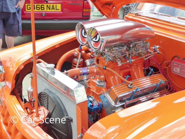 Heavily customised 1950s Chevrolet Coupe engine view