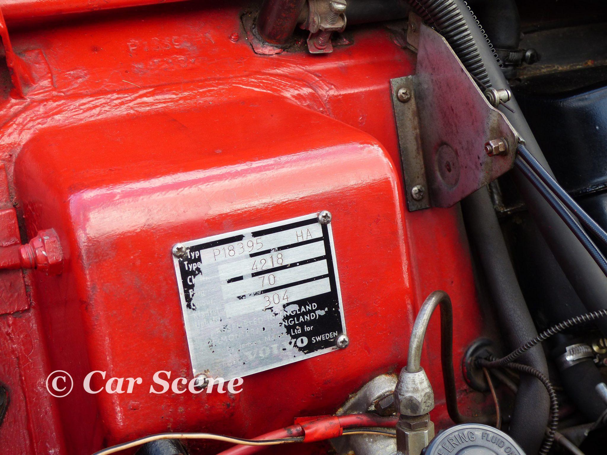 Volvo P18000 Identification Label