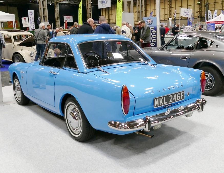 Blue sports car rear