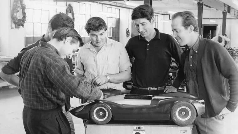 Bruce McLaren with model of his MIA sports racing car