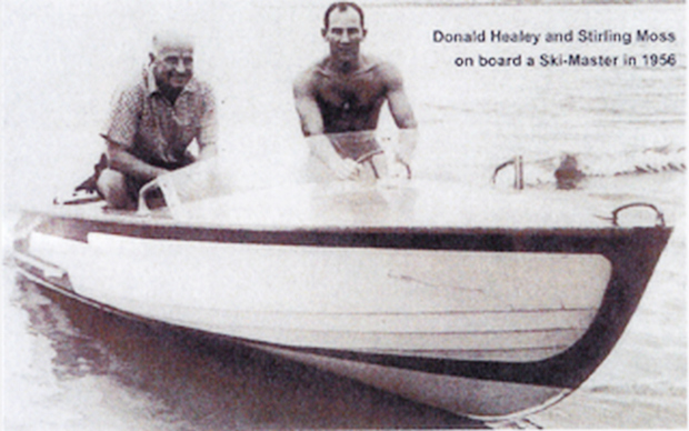 Donald and Stirling in a speed boat