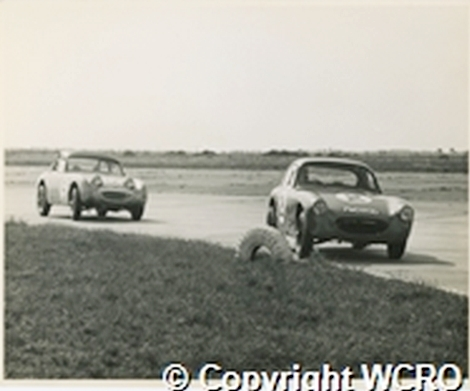 Moss and McLaren in Austin Healey Sprites, Sebring 1961