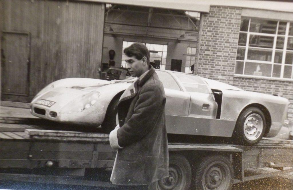 John Harris in front of Healey SR