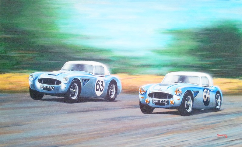 John Harris and Clive Baker in AH 3000s 56FAC and 54 FAC respectively in a Painting by Stuart Spencer