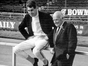 John Harris and Donald Healey at Silverstone 1968