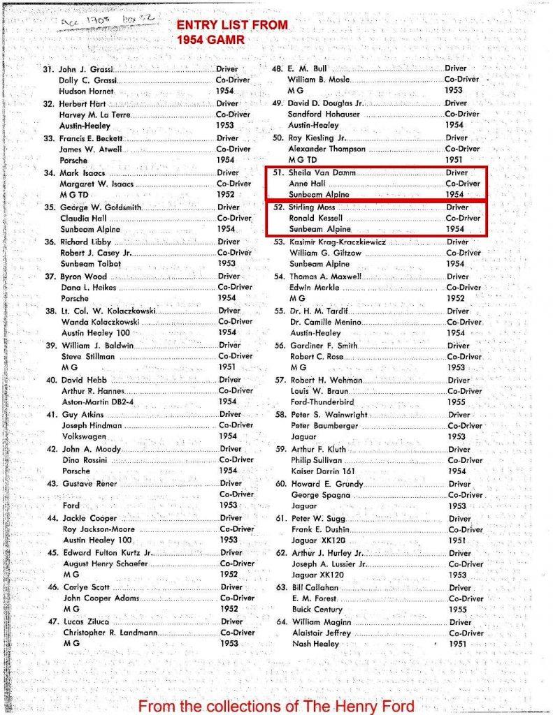 1954 GAMR Entry List