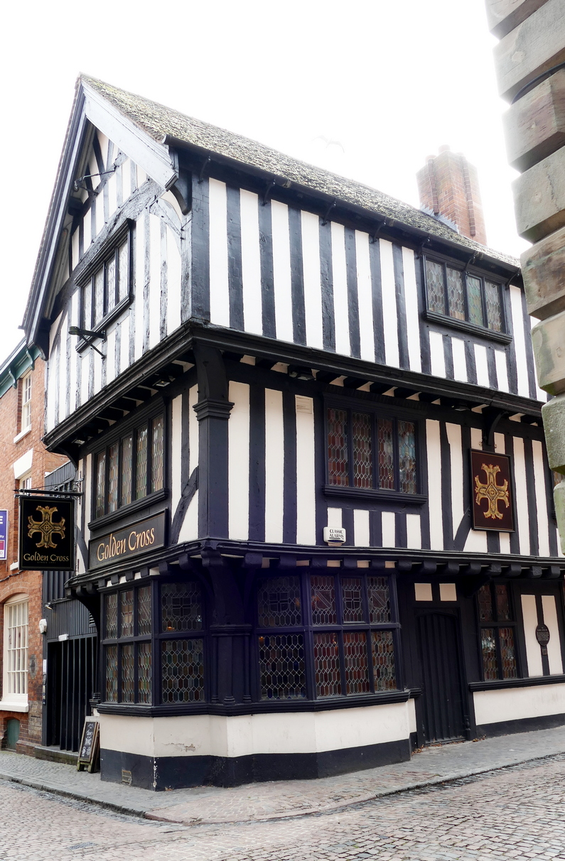 Golden Cross Inn, dating back to 1583, it miracously survived the otherwise devistating WWII air raids.